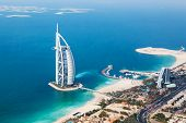 Dubai, Uae. Burj Al Arab From Helicopter View