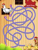 Illustration of a maze game with chicken background