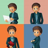 Illustration of different poses of a businessman