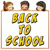 Illustration of children with a back to school sign