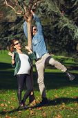 Couple who is expecting a child relaxes