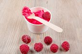 Frozen Creamy Ice Yoghurt  With Whole Raspberries