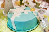 Delicious Beautiful Wedding Cake In Soft Blue Or Turquoise