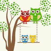 Vector backgrounds with couples of owls on the tree branch. Owls family: father, mother, dauther and son.  Cute vector illustration for greeting card, invitetion or wallpaper design.