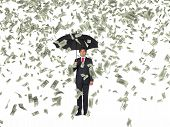 Businessman And Falling Dollar Banknote