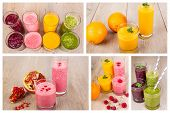 pic of orange-juice  - Collage of four different fruit berry and vegetables healthy smoothies on wooden background - JPG