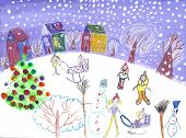 picture of sleigh ride  - The image of the Watercolor Children Drawing - JPG