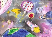 Watercolor Children Drawing Space Planet Rocket