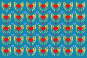 Background Of Butterflies And Hearts