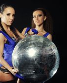 young dancer girls in smoke with disco ball