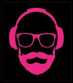 Hipster style set, glasses, mustaches, headphones abstract illustration background. vector flat temp