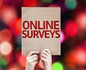 Online Surveys card with colorful background with defocused lights