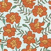 Seamless texture with marigold flowers