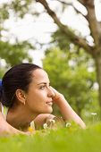 Fit brunette lying and thinking on grass in the park