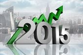 2015 with green arrow against room with large window looking on city