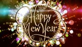 Happy new year against black and gold new year graphic