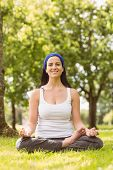 Smiling brunette in lotus pose on grass in the park