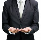 Businessman Standing Posture Show Hand Isolated
