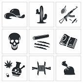 foto of crack addiction  - Mexican cartel Vector Isolated Flat Icons collection on a white background - JPG