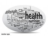 Vector concept or conceptual 3D oval or ellipse abstract health word cloud or wordcloud on white background