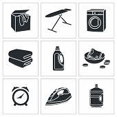 Dry Cleaning Laundry Vector Icons Set
