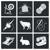 Wool, Knitting Vector Icons Set