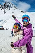 Beautiful Couple At Ski Resort