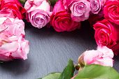 red and pink  roses  frame on table