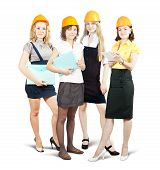 Businesswomen In Hard Hat With Documents