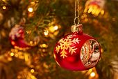 Christmas Red Decoration On Blur Background