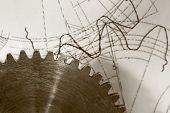 Steel Cogwheel On Drawing