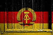 Flag Of East Germany Painted On Wooden Frame