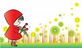 girl holding tulip with border frame