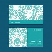 Vector soft peacock feathers horizontal stripe frame pattern business cards set