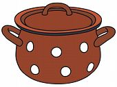 picture of boiling point  - Vector illustration of hand drawn old red pot - JPG