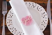 White Plate Serviette With Handmade Pink Crochet Heart