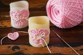 Candle With  Pink Crochet Handmade Heart For Saint Valentine's Day