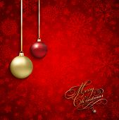 Decorative Christmas background with snowflake design and hanging baubles