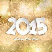Golden Happy New Year background with snowflakes and star designs