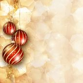Christmas baubles on a decorative background
