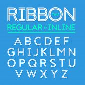 Ribbon font, regular and inline version of typeface in vector file.