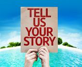 Tell Us Your Story card with beach background