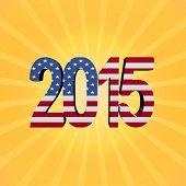American flag 2015 text on sunburst illustration