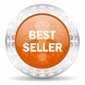 best seller orange icon, christmas button
