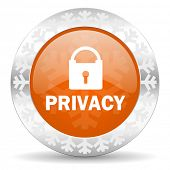 privacy orange icon, christmas button