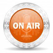 on air orange icon, christmas button