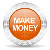 make money orange icon, christmas button