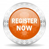 register now orange icon, christmas button