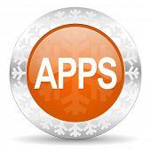 apps orange icon, christmas button