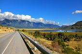 Patagonia. The longest road the Ruta 40 passes in Argentina among lakes and fields. The picturesque mountain chain of the Southern Andes decorates a landscape